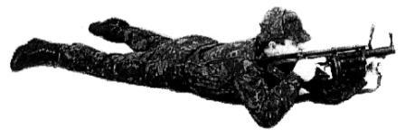 """Рисунок А26. Положение для стрельбы на дистанцию 100 - 200 м, """"лежа с руки"""""""