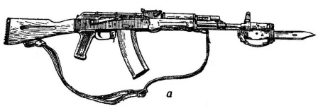 а — с постоянным прикладом (АК74)