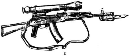 г - со складывающимся прикладом и ночным прицелом (АКС74Н)