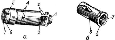 Рис. 28. Дульный тормоз-компенсатор и пламегаситель: а — дульный тормоз-компенсатор АК74; б — пламегаситель;