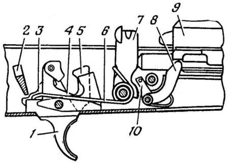 Рис. 49. Положение частей ударноспускового механизма до заряжания при включенном предохранителе и спущенном курке АК74