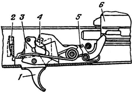 Рис. 50. Положение частей ударно-спускового механизма перед выстрелом АК74