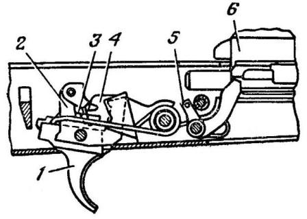 Рис. 51. Положение частей ударноспускового механизма после выстрела при переводчике, установленном на одиночный огонь АК74