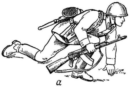 Рис. 56. Порядок принятия положения для стрельбы лежа из автомата АК74: а — автоматчик опирается на левое колено и левую руку