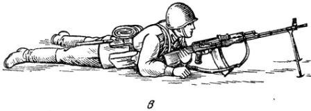 Рис. 57. Принятие положения для стрельбы лежа из пулемета:в — положение для стрельбы лежа