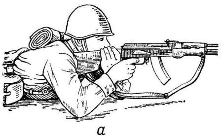 Рис. 70. Удержание пулемета при стрельбе лежа и из окопа стоя или с колена: a — за шейку приклада