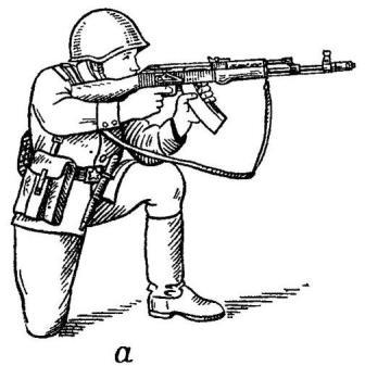 Рис. 71. Удержание автомата при стрельбе из положения: а — с колена