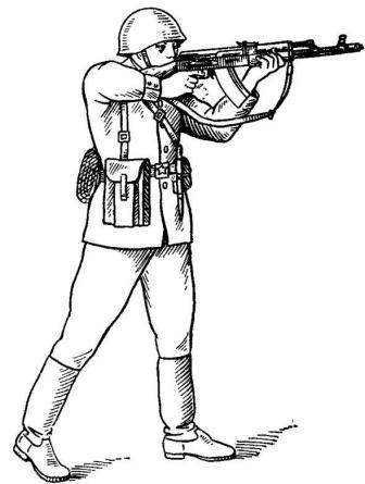 Рис. 82. Положение при стрельбе на ходу навскидку АК74