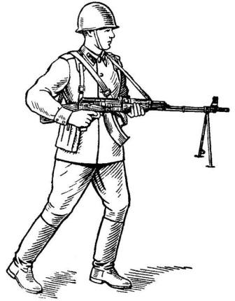 Рис. 84. Положение при стрельбе на ходу из пулемета