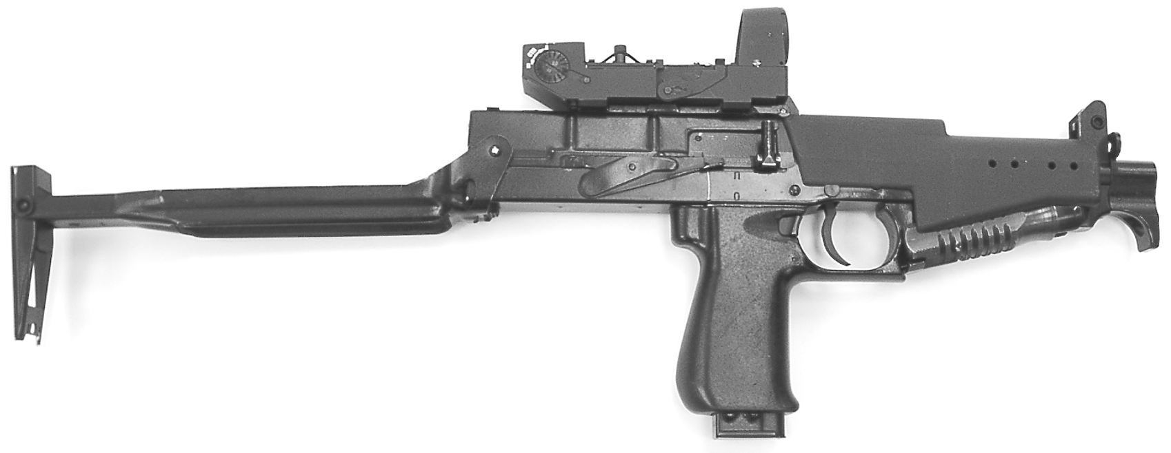 Рисунок 1.1-Пистолет-пулемет  СР2М с коллиматорным прицелом и откинутым прикладом