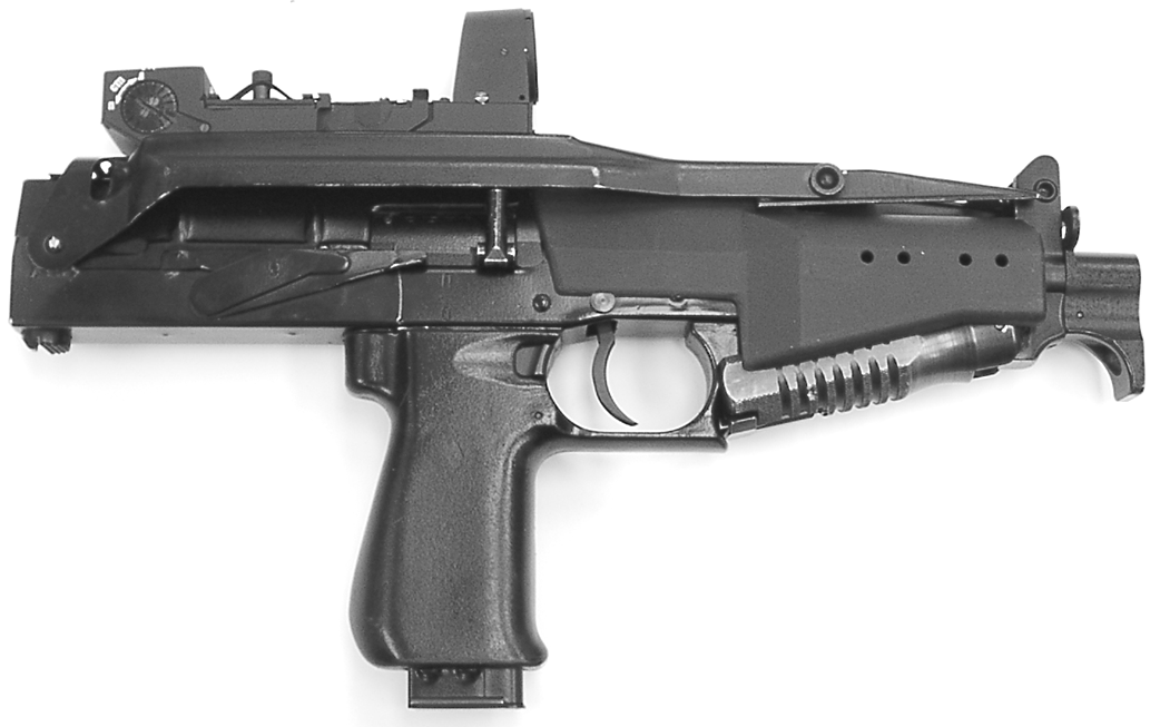Рисунок 1.2 - Пистолет-пулемет СР2М с коллиматорным прицелом и сложенным прикладом