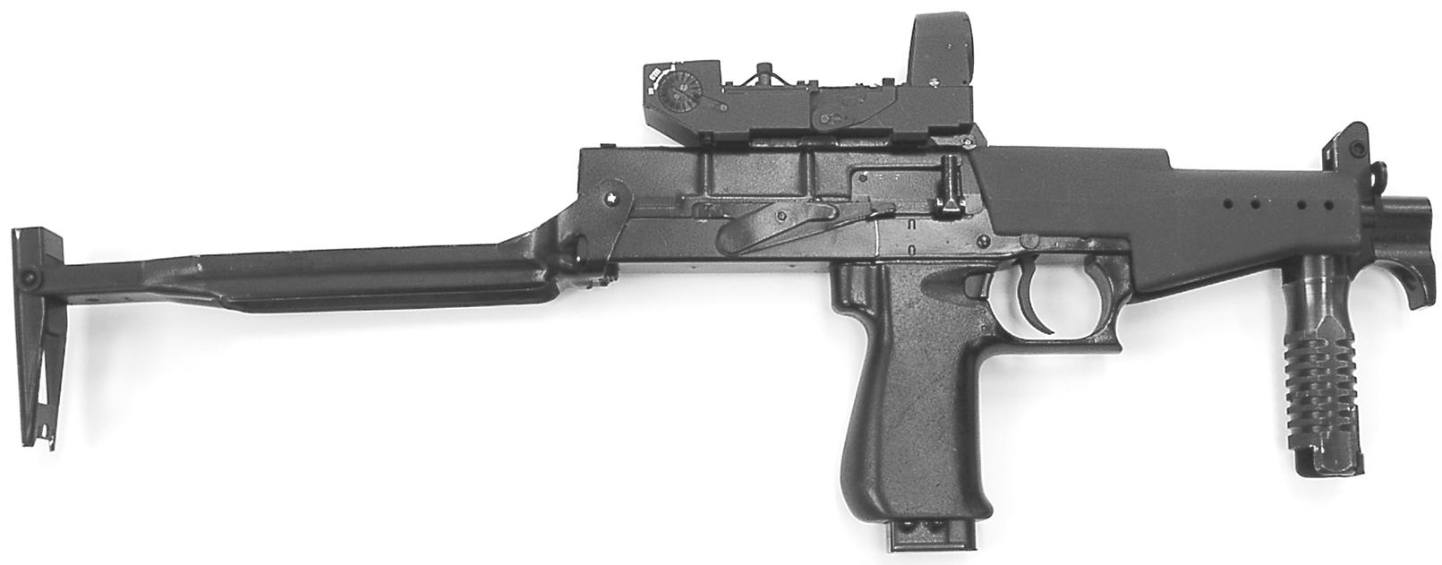 Рисунок 1.4 - Пистолет-пулемет СР2М с коллиматорным прицелом и разложенными прикладом и передней рукояткой
