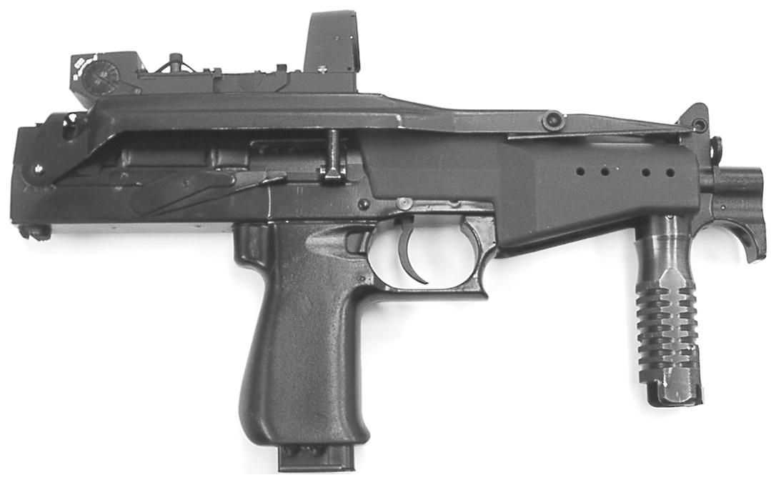 Рисунок 1.5 - Пистолет-пулемет СР2М с коллиматорным прицелом и сложенными прикладом и передней рукояткой