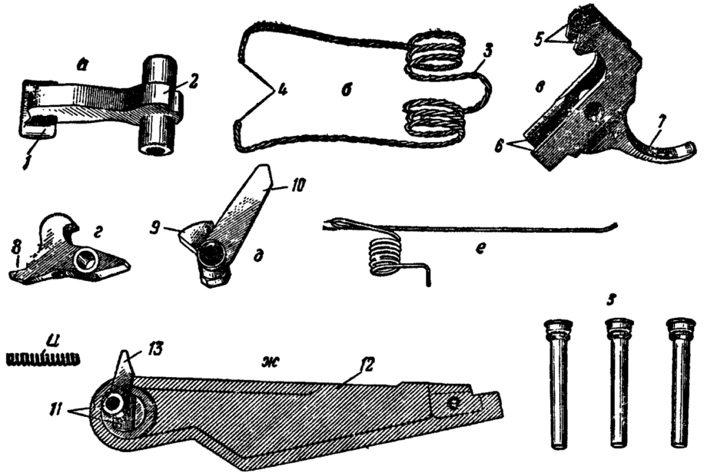 Рис. 37. Детали ударно-спускового механизма АК