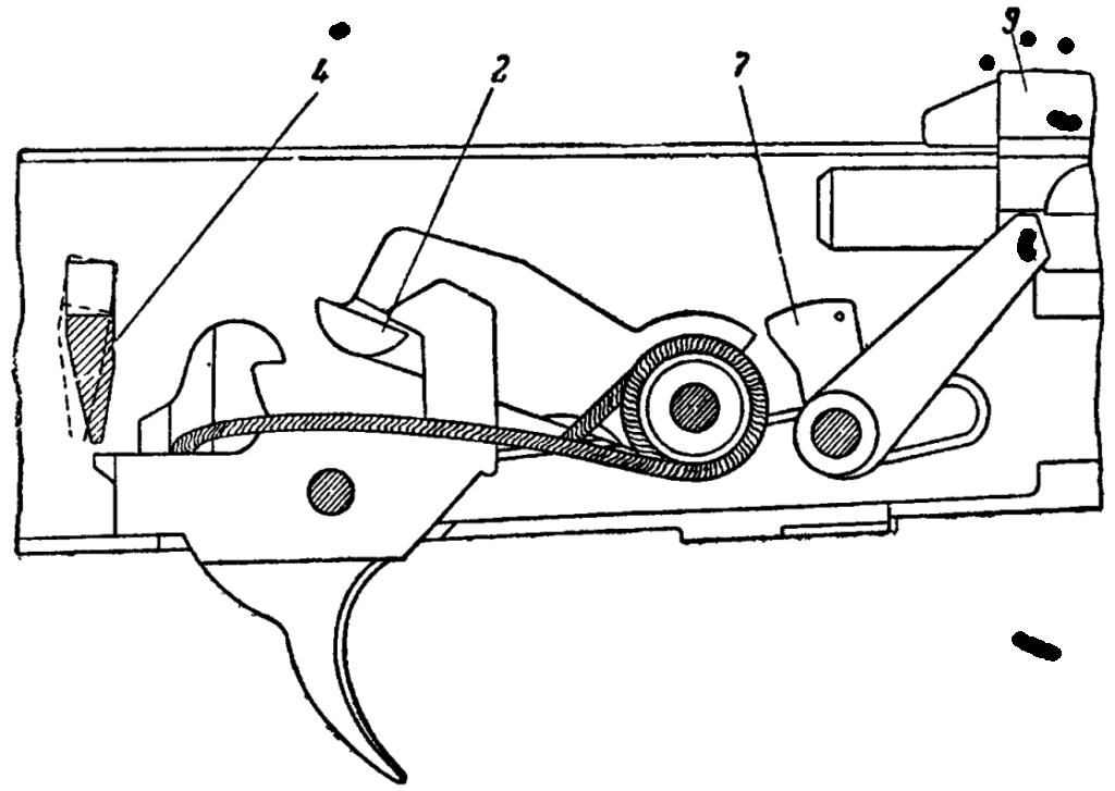 Рис. 45. Положение частей ударно-спускового механизма перед выстрелом АК