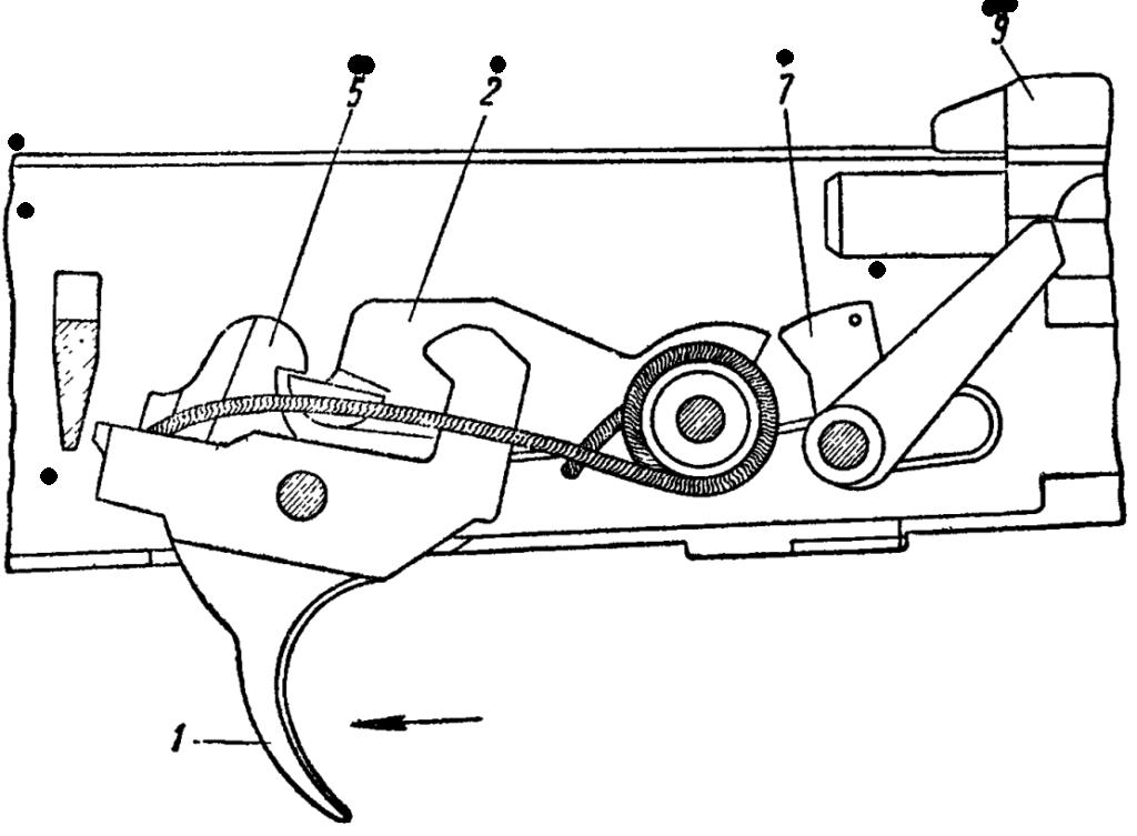 Рис. 47. Положение частей ударно-спускового механизма после выстрела при переводчике, установленном на одиночный огонь