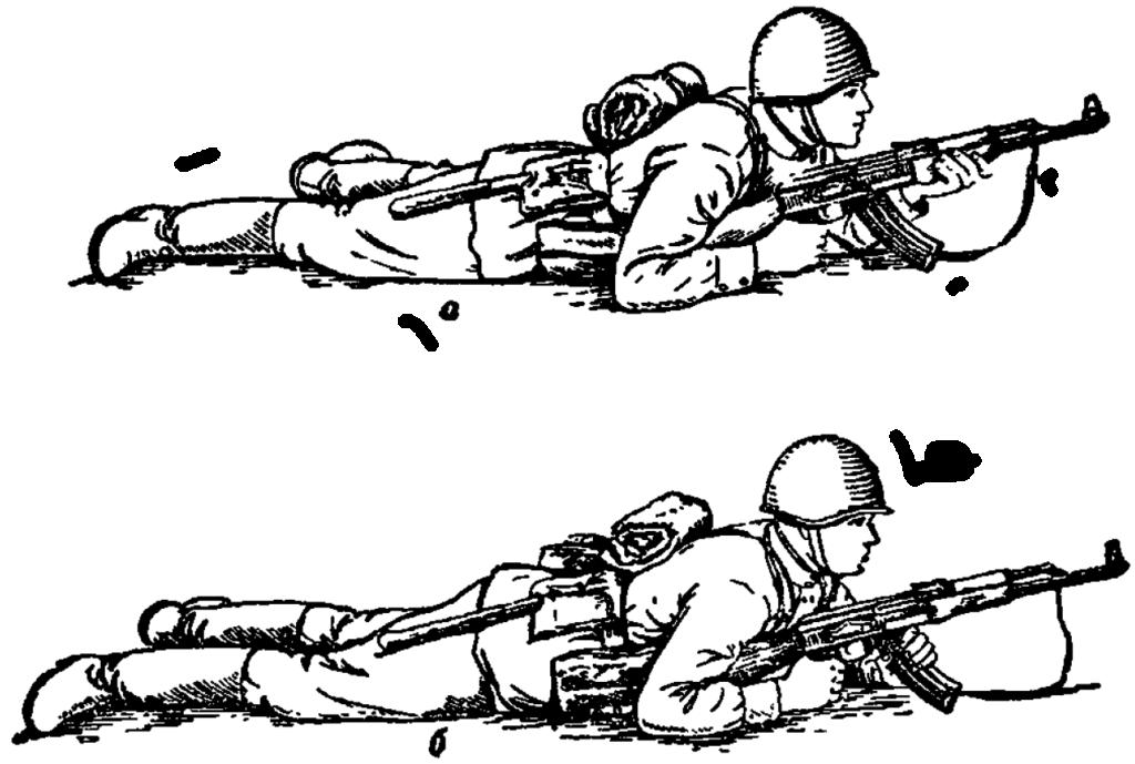 Рис. 51. Изготовка к стрельбе лежа АК