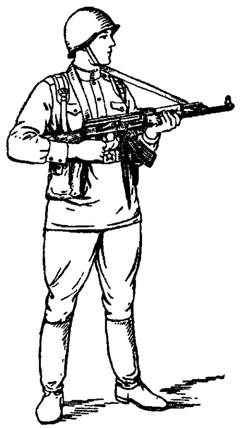 Рис. 53. Изготовка к стрельбе стоя с использованием ремня АК