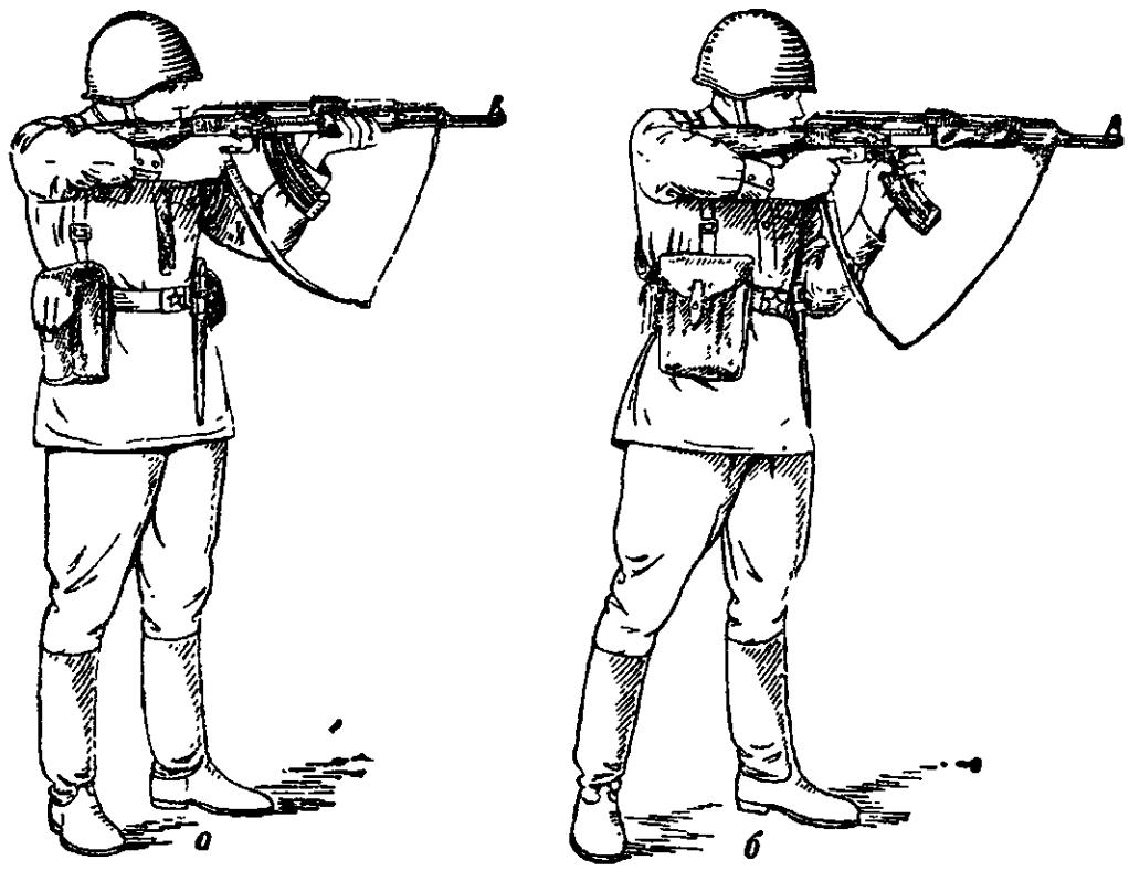 Рис. 64. Прикладка при стрельбе стоя вне окопа