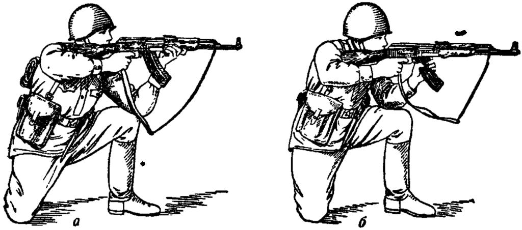 Рис. 66. Прикладка при стрельбе с колена