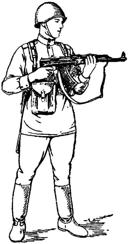 Рис. 68. Прикладка при стрельбе из автомата со сложенным металлическим прикладом