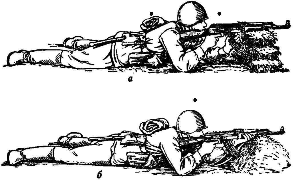 Рис. 75. Стрельба лежа с упора