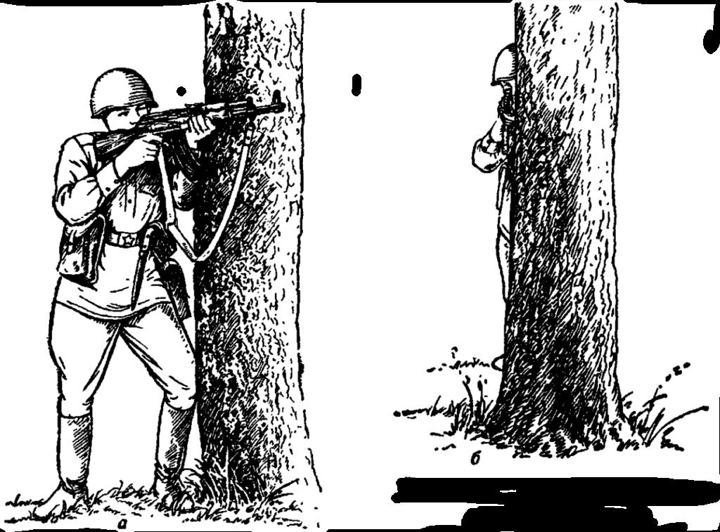 Рис. 79. Стрельба из-за укрытия стоя