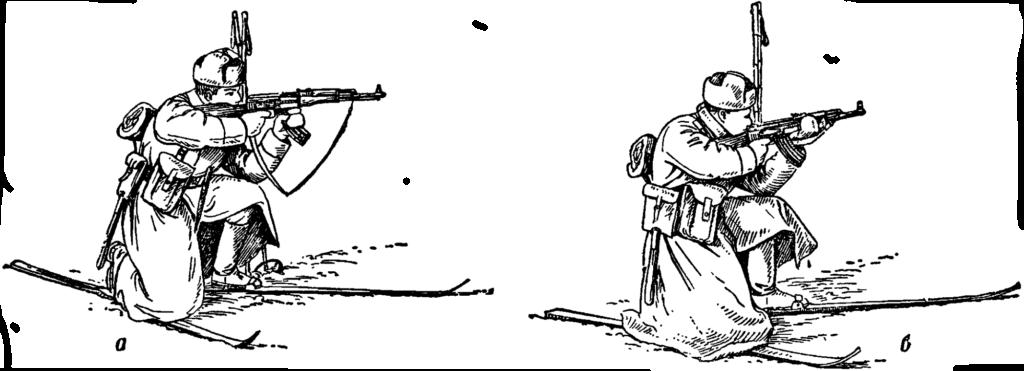 Рис. 85. Стрельба с лыж с колена