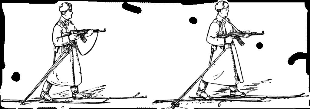 Рис. 89. Стрельба с лыж в движении со скрепленными палками