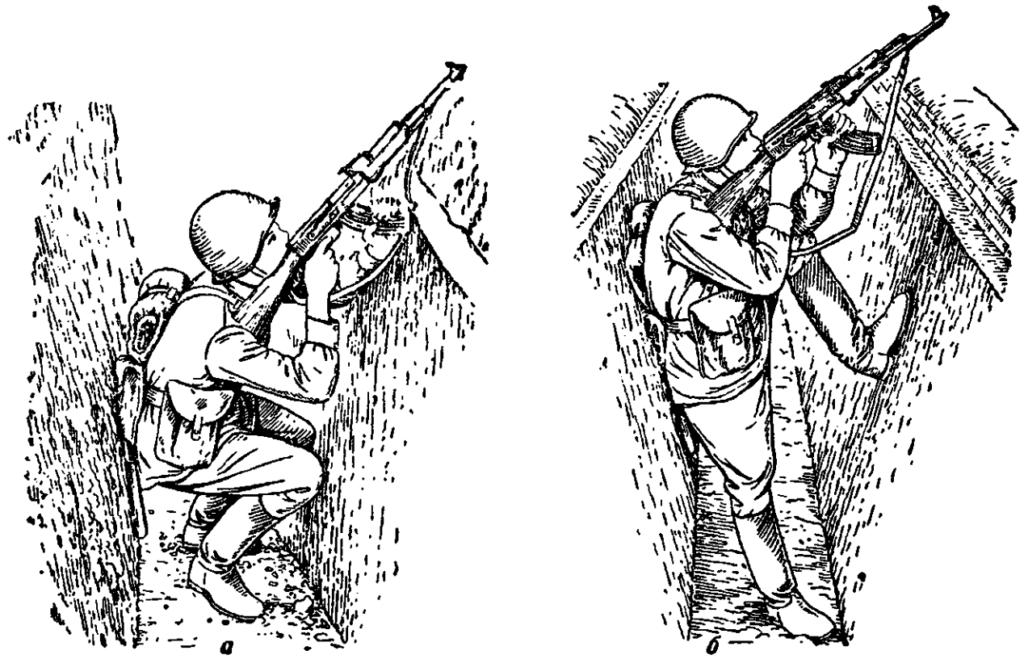 Рис. 93. Стрельба из траншеи (хода сообщения) по воздушным целям